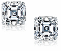 4 Carat Each Asscher Cut Cubic Zirconia Stud Earrings