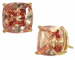 4 Carat Each Cushion Cut Cubic Zirconia Simulated Cognac Diamond Stud Earrings