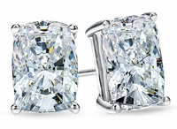 4 Carat Each Elongated Cushion Cut Cubic Zirconia Stud Earrings