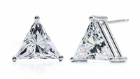 4 Carat Each Trillion Cubic Zirconia Stud Earrings
