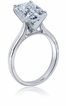 4 Carat Elongated Cushion Cut Cubic Zirconia Cathedral Solitaire Engagement Ring