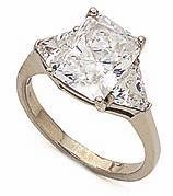 4 Carat Emerald Cut with Trillions Cubic Zirconia Engagement Ring