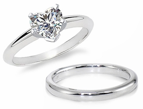 4 Carat Heart Classic Solitaire Engagement Ring with Matching Band Wedding Set