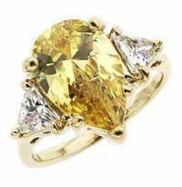 4 Carat Pear with Trillions Cubic Zirconia Engagement Ring