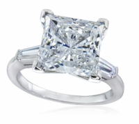 4 Carat Princess Cut Cubic Zirconia Baguette Solitaire Engagement Ring