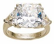 4 Carat Princess Cut with Trillions Three Stone Cubic Zirconia Engagement Ring