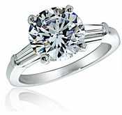 4 Carat Round Cubic Zirconia Baguette Solitaire Engagement Ring in 14K White Gold