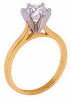 4 Carat Round Cubic Zirconia Cathedral Solitaire Engagement Ring