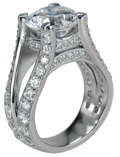 Burke 4 Carat Round Cubic Zirconia Pave Set Cathedral