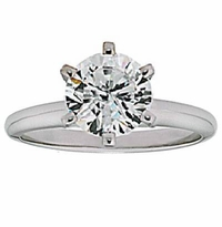 4 Carat Round Cubic Zirconia Six Prong Classic Solitaire Engagement Ring