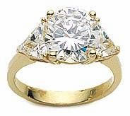 4 Carat Round with Trillions Cubic Zirconia Engagement Ring