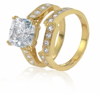4 Carat Winston Cathedral Cushion Cut Cubic Zirconia Bridal Set with Contoured Matching Band