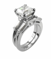 4 ct. Asscher Inspired Baguette Solitaire With Matching Band