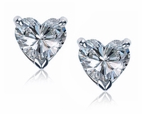 4 ct. Each Heart Cubic Zirconia Stud Earrings