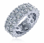 4mm Double Row Shared Prong Round Cubic Zirconia Eternity Band