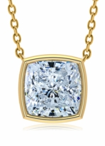 5.5 Carat Cushion Cut Square Bezel Set Cubic Zirconia Solitaire Pendant