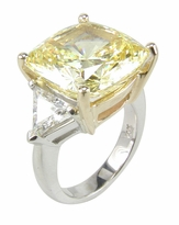 5.5 Carat Cushion Cut with Trillions Three Stone Cubic Zirconia Engagement Ring