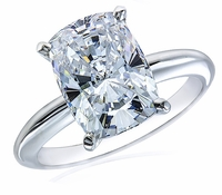 5.5 Carat Cushion Emerald Cut Cubic Zirconia Classic Solitaire Engagement Ring