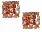 5.5 Carat Each Cushion Cut Cubic Zirconia Simulated Diamond Cognac Stud Earrings