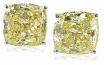 5.5 Carat Each Cushion Cut Simulated Diamond Cubic Zirconia Canary Stud Earrings