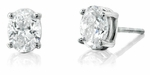 5.5 Carat Each Oval Cubic Zirconia Stud Earrings