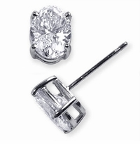 5.5 Carat Each Oval Cubic Zirconia Stud Earrings in 18K White Gold