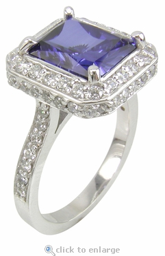 5.5 Carat Elegant Emerald Cut Cubic Zirconia Halo Pave Cathedral Solitaire Engagement Ring
