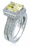 5.5 Carat Elegant Emerald Cut Cubic Zirconia Pave Halo Cathedral Bridal Set