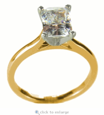 5.5 Carat Emerald Cut Cubic Zirconia Cathedral Solitaire Engagement Ring