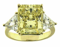 5.5 Carat Emerald Cut with Trillions Cubic Zirconia Engagement Ring