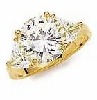 5.5 Carat Round with Trillions Cubic Zirconia Engagement Ring