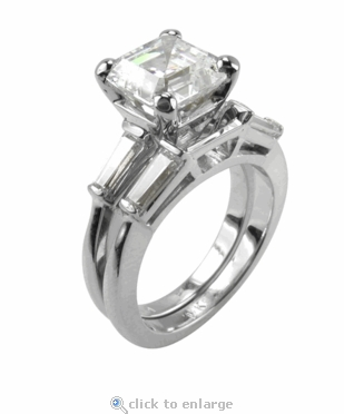 5.5 ct. Asscher Inspired Baguette Solitaire With Matching Band