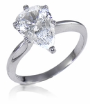 5 Carat Pear Classic Solitaire Engagement Ring with Matching Band Wedding Set