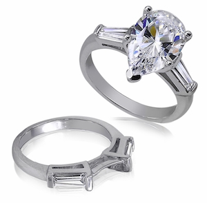 5 Carat Pear Cubic Zirconia Baguette Solitaire with Matching Band Wedding Set