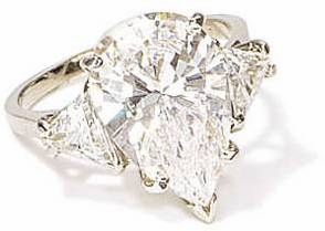5 Carat Pear with Trillions Cubic Zirconia Engagement Ring