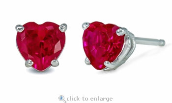 .50 Carat Each Heart Lab Created Ruby Stud Earrings in 14K White Gold