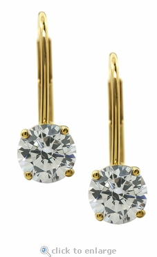.50 Carat Each Round Cubic Zirconia Leverback Stud Euro Wire Earrings