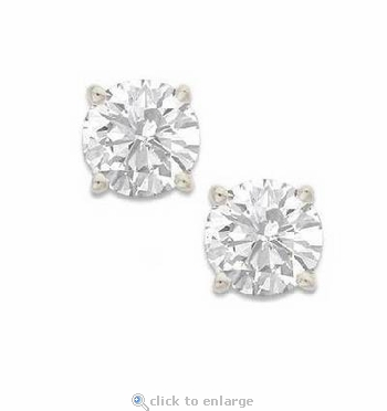 .50 Carat Each Round Cubic Zirconia Stud Earrings 14K White Gold Screwbacks
