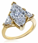 6 Carat Marquise with Trillions Cubic Zirconia Three Stone Ring