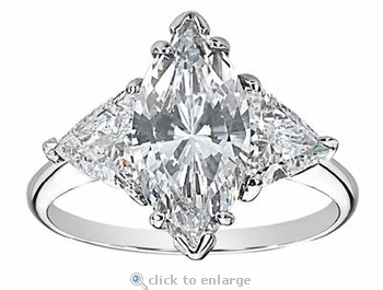 6 Carat Marquise with Trillions Three Stone Cubic Zirconia Engagement Ring