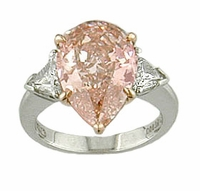 6 Carat Pear with Trillions Cubic Zirconia Engagement Ring