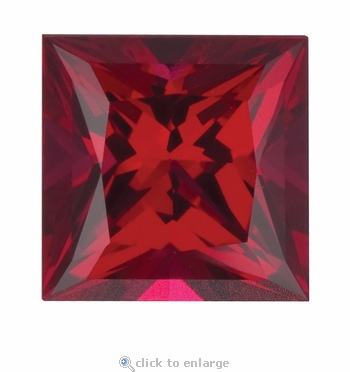 7 Carat 11mm Princess Cut Ruby Lab Created Synthetic Loose Stone