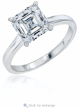 7 Carat Asscher Cut Cubic Zirconia Cathedral Solitaire Engagement Ring