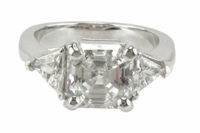 7 Carat Asscher Cut with Trillions Three Stone Cubic Zirconia Engagement Ring