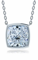 7 Carat Cushion Cut Square Bezel Set Cubic Zirconia Solitaire Pendant