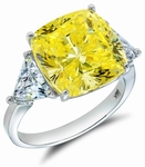 7 Carat Cushion Cut with Trillions Three Stone Cubic Zirconia Engagement Ring