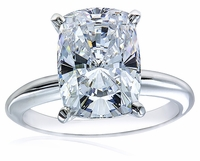 7 Carat Cushion Emerald Cut Cubic Zirconia Classic Solitaire Engagement Ring