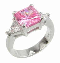 7 Carat Princess Cut with Trillions Three Stone Cubic Zirconia Engagement Ring