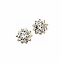 .75 Carat Each Center Round Cubic Zirconia Cluster Earrings - Medium Version