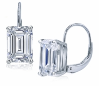 .75 Carat Each Emerald Step Cut Cubic Zirconia Leverback Earrings